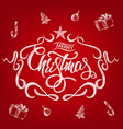 merry christmas greeting card with chalk drawn vector image