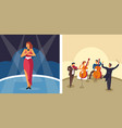 music singer and orchestra female artist and vector image vector image