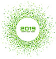 new year 2019 card christmas green circle frame vector image vector image