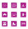 observation weight icons set grunge style vector image