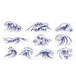 ocean hand drawn waves sketch style sea vector image vector image