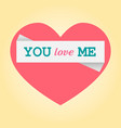 postcard with pink heart and text retro style vector image vector image