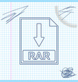 rar file document icon download rar button line vector image vector image