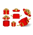 Red Gift Boxes and with golden bow