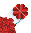 Red heart flower with long shadow vector image vector image