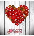 Red heart made from red buttons Valentines day vector image