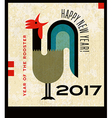 Retro crowing rooster Happy New Year 2017 vector image
