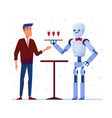 robot waiter serves wine to a man vector image vector image