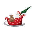 Santa Claus Christmas sledge isolated on white vector image