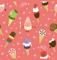 seamless pattern with ice cream cone vector image vector image