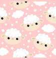 seamless patternsheep face head icon cloud star vector image vector image