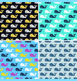set whale fish seamless patterns vector image vector image
