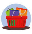 shopping bags inside basket to sale offer vector image vector image