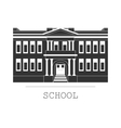 Silhouette school building in a flat vector image vector image
