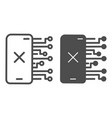 smartphone without connection line and solid icon vector image vector image