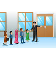 students lining up outside classroom vector image