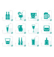 stylized different kind of drink icons vector image vector image