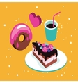 Sweet menu Delicious dessert cake chocolate donut vector image vector image