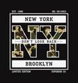 t-shirt with ny slogan camouflage vector image vector image