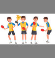 table tennis young man player man sports vector image vector image