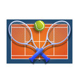 tennis club racket cross ball on orange court vector image