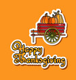thanksgiving card with pumpkins in vector image vector image