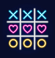 tic tac toe game linear outline icon neon style vector image