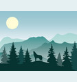 wolf nature landscape vector image vector image
