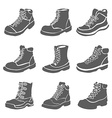Set of nine different boots isolated on white vector image