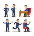 successful businessman cartoon set man with money vector image