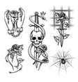 Criminal tattoo Rose in hands of knife behind vector image