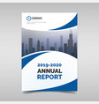 annual report template with blue wavy shapes