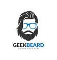 beard geek logo design template hipster glasses