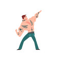 brutal muscular man with tattoo attractive vector image vector image