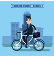 Businessman Biking Man Biking in the City vector image