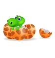 Cartoon of a baby dinosaur hatching vector | Price: 1 Credit (USD $1)