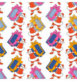 cartoon santa claus seamless pattern santa claus vector image vector image