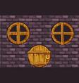 cartoon wooden door and windows on stone wall vector image