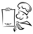 Cheerful chef with menu paper vector image vector image