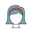 color sections silhouette faceless woman with vector image