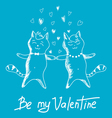 couple cats on Valentines Day vector image
