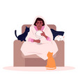crying african american lady semi flat rgb color vector image