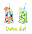 detox diet drinks collection vector image vector image