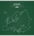 europe map outline stroke on green background vector image vector image