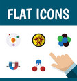 flat icon knowledge set of danger proton vector image vector image