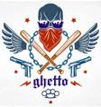 gang brutal criminal emblem or logo with vector image vector image