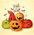 halloween set of funny pumpkins vector image
