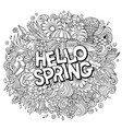 hello spring hand drawn cartoon doodles vector image