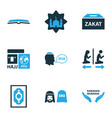 holiday icons colored set with beg masjid zakat vector image