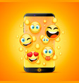 icons for emoji from the phone vector image vector image